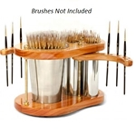 Lyptus Wood Brush Holder With Canisters