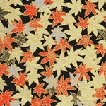 "Red, Gold, and Silver Leaves on Black 18""x24"" Sheet"