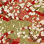 Japanese Chiyogami Paper - White Cherry Blossoms on Trees with Gold