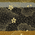 Japanese Chiyogami Paper - Gold Flowers Falling Against Stormy Night Sky