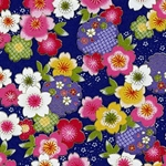 Japanese Chiyogami Paper - Colorful Flowers on Blue Background