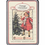 Cavallini Vintage Christmas Glitter Greetings Postcard Set
