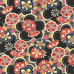 "Black & Multicolor Floral Pattern - 18""x24"" Sheet"