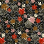 "Autumn Maple Leaves on Black Fans - 25""x18.5"" Sheet"
