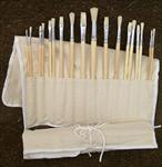 Brush Bundle of 18 Hog Brushes in a Canvas Brush Holder