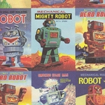 "Rossi Decorative Paper - Vintage Robots Sheet 28""x40"""