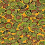 Green & Red Umbrellas on Orange - Chiyogami Paper