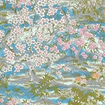 Pink Flower Trees on Blue - Chiyogami Paper