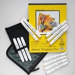 "TOUCH Brush Marker Set of 12 Main Brush Colors with Case and 8.5""x11"" Marker Pad"