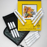 "TOUCH Brush Marker Set of 12 Warm Grey Brush Colors with Case and 8.5""x11"" Marker Pad"