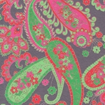 Printed Cotton Paper from India- Paisley Green/Red/Magenta on Gray 22x30 Inch Sheet