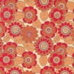 Printed Cotton Paper from India- Floral Red/Orange/Sienna on Gray 22x30 Inch Sheet