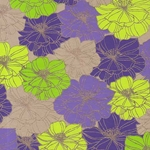 Printed Cotton Paper from India- Retro Flowers in Purple/Green/Yellow on Tan Paper 22x30 Inch Sheet