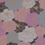 Printed Cotton Paper from India- Retro Flowers in Pink/Gray/Black on Tan Paper 22x30 Inch Sheet
