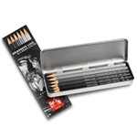 Caran d'Ache Grafwood Metal Box Set of 6 Graphite Pencils (9B,7B,5B,3B,HB,2H)