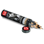 Caran d'Ache Grafwood Metal Tube with 15 Graphite Pencils (4H-9B)