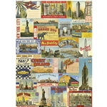 "Cavallini Decorative Paper - New York City Postcards 20""x28"" Sheet"