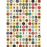 "Cavallini Decorative Paper - Vintage Alphabet 20""x28"" Sheet"