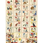 "Cavallini Decorative Paper - Vintage Illustrated ABC 20""x28"" Sheet"