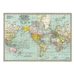 "Cavallini Decorative Paper - World Map #3 20""x28"" Sheet"