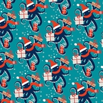 Holiday Octopus Paper Roll- Two 27x39 Inch Sheets