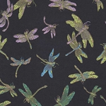 "Chinese Brocade Paper- Rainbow Dragonfly on Black 26x16.75"" Sheet"