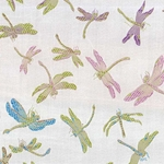 "Chinese Brocade Paper- Rainbow Dragonfly on Silver 26x16.75"" Sheet"
