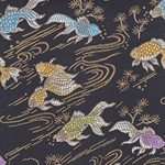 "Chinese Brocade Paper- Goldfish on Black 26x16.75"" Sheet"