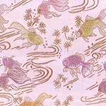 "Chinese Brocade Paper- Goldfish on Pink 26x16.75"" Sheet"