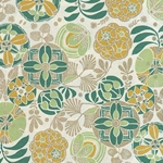 "Rossi Decorated Papers from Italy - Liberty Flowers Green 28""x40"" Sheet"