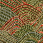 "Chiyogami Paper- Red, Green, Gray, Amber, Gold Waves 18""x24"" Sheet"