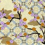 "Chiyogami Paper- Yellow and Purple Flowers on Black Vines 18""x24"" Sheet"