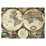 "Four Hemisphere World Map- Poster Paper 19.5 x 27.25"" Sheet"
