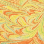 "Thai Marbled Kozo Paper- Vibrant Warm Citrus Tones 22x30"" Sheet"