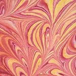 "Thai Marbled Kozo Paper- Vibrant Hot Tones 22x30"" Sheet"
