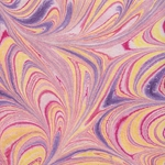 "Thai Marbled Kozo Paper- Vibrant Purple Sunset Tones 22x30"" Sheet"