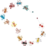 Decorative Paper Garlands- Multicolor Monkeys