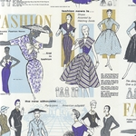 "Rossi Decorated Papers from Italy - 1950's Women's Fashion, Blues 28""x40"" Sheet"