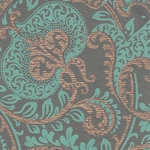 Printed Cotton Paper from India- Floral Paisley Turquoise & Gold on Gray 22x30 Inch Sheet