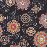 "Hana Yuzen Ornaments Black - 18.5""x25"" Sheet"