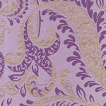 Printed Cotton Paper from India- Floral Paisley Purple & Gold on Lavender 22x30 Inch Sheet