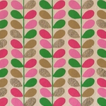 "Beanstalk Printed Paper from India- Pink, Magenta, Green, & Gold on Cream 22x30"" Sheet"