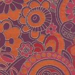 "India Screen Printed Papers - Funkadelic Floral Paper- Pink. Orange, Red, & Gold on Magenta 22""x30"" Sheet"