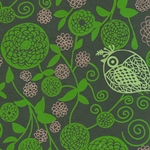 "India Screen Printed Papers - Green Birds & Flowers on Dark Green 22""x30"" Sheet"