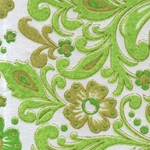 "India Screen Printed Papers - Green & Chartreuse Paisley 22""x30"" Sheet"
