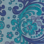 "India Screen Printed Papers - Blue & Turquoise Paisley on Blue 22""x30"" Sheet"