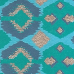 Printed Cotton Paper from India- Turquoise, Navy, & Gold Abstract on Blue 22x30 Inch Sheet