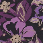 Printed Cotton Paper from India- Purple, Lavender, and Gold Floral on Black 22x30 Inch Sheet