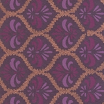 Printed Cotton Paper from India- Purple, Lavender, and Copper Fleur de Lis on Aubergine 22x30 Inch Sheet