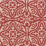 Printed Cotton Paper from India- Morroccan Print in Cream on Red 22x30 Inch Sheet
